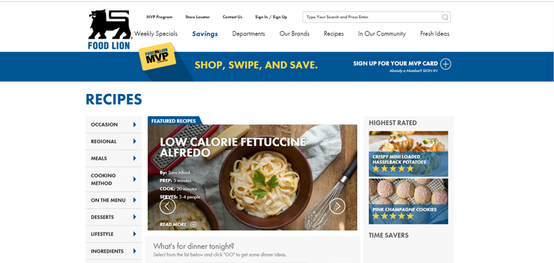Screenshot from FoodLion's recipe portal